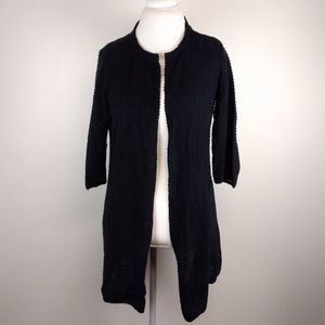 Eileen Fisher Textured Semi-Sheer Shrug Black